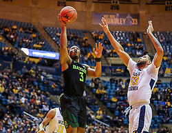 Jan 21, 2019; Morgantown, WV, USA; Baylor Bears guard King McClure (3) shoots in the lane during the first half against the West Virginia Mountaineers at WVU Coliseum. Mandatory Credit: Ben Queen-USA TODAY Sports