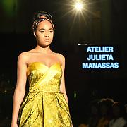 Designer Atelier Julieta Manassas showcases its latest collection at the Africa Fashion Week London (AFWL) at Freemasons' Hall on 11 August 2018, London, UK.