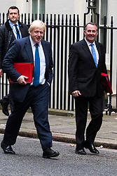 London, October 10 2017. Foreign and Commonwealth Secretary Boris Johnson and International Trade Secretary Liam Fox attend the UK cabinet meeting at Downing Street. © Paul Davey