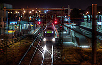 Railway Stations at night. About 8pm, Broadmeadows railway station, a train leaves the platform bound for Flinders street station. Pic By Craig Sillitoe CSZ/The Sunday Age The Age iPad App This photograph can be used for non commercial uses with attribution. Credit: Craig Sillitoe Photography / http://www.csillitoe.com<br /> <br /> It is protected under the Creative Commons Attribution-NonCommercial-ShareAlike 4.0 International License. To view a copy of this license, visit http://creativecommons.org/licenses/by-nc-sa/4.0/.
