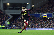 Kevin De Bruyne of Manchester City takes a free kick. Premier league match, Everton v Manchester City at Goodison Park in Liverpool, Merseyside on Sunday 15th January 2017.<br /> pic by Chris Stading, Andrew Orchard sports photography.