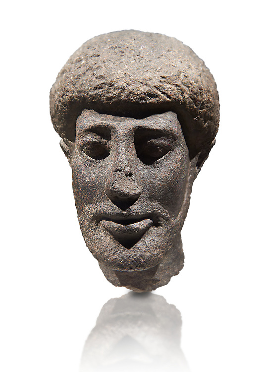 Granite ancient Egyptian statue head of a man with a beard. 1st Century BC . Neues Reich Museum Berlin Cat No: AM 10660. .<br /> <br /> If you prefer to buy from our ALAMY PHOTO LIBRARY  Collection visit : https://www.alamy.com/portfolio/paul-williams-funkystock/ancient-egyptian-art-artefacts.html  . Type -   Neues    - into the LOWER SEARCH WITHIN GALLERY box. Refine search by adding background colour, subject etc<br /> <br /> Visit our ANCIENT WORLD PHOTO COLLECTIONS for more photos to download or buy as wall art prints https://funkystock.photoshelter.com/gallery-collection/Ancient-World-Art-Antiquities-Historic-Sites-Pictures-Images-of/C00006u26yqSkDOM