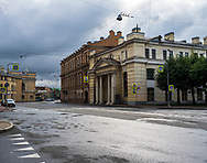 St. Petersburg, Russia -- July 20, 2019. Rainswept streets are quiet on a Sunday morning in St Petersburg.