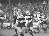 Rugby Union : Barbarians v New Zealand (All Blacks). 27/01/1973 @ Cardiff Arms Park. Credit : Colin Elsey/Colorsport<br /> John Dawes (Barbarians) feeds out the ball with Mike Gibson in support