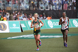 10062018 (Durban) A 2nd position Gerda Steyn, RSA (6:15:34) run towards the finnish line during the 2018 Comrades marathon in Durban.<br /> Picture: Motshwari Mofokeng/ANA