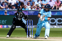 Joe Root of England plays a reverse sweep - Mandatory by-line: Robbie Stephenson/JMP - 03/07/2019 - CRICKET - Emirates Riverside - Chester-le-Street, England - England v New Zealand - ICC Cricket World Cup 2019 - Group Stage