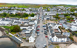 Aerial view of whitewashed houses along Main Street in Bowmore, Islay , Scotland, UK