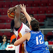Galatasaray's Melisa CAN (L) during their woman Euroleague group C matchday 9 Galatasaray between Halcon Avenida at the Abdi Ipekci Arena in Istanbul at Turkey on Wednesday, January 12 2011. Photo by TURKPIX