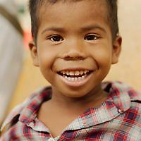 A young boy at Yangon's train station