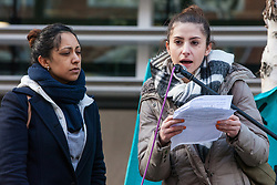 London, UK. 11th February, 2019. Speakers from Crossroads Women's Centre address campaigners against immigration deportations and the Government's hostile environment stage a 'People's Trial of the Home Office' including direct testimonies by individuals affected and performances by musicians and poets.