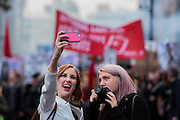 For some it is all about the selfie - A student march against fees and many other issues starts in Malet Street and heads for Westminster via the West End.
