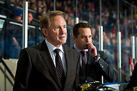 KELOWNA, BC - MARCH 02:   Portland Winterhawks' head coach Mike Johnston stands on the bench next to associate coach Kyle Gustafson against the Kelowna Rockets at Prospera Place on March 2, 2019 in Kelowna, Canada. (Photo by Marissa Baecker/Getty Images)
