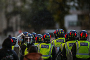 London, United Kingdom, May 15, 2021: Police take security measures as pro-Palestinian protesters dispersed outside the Israeli Embassy in central London on Saturday, May 15, 2021. 13 people have been arrested and remain in custody, as well as nine police officers were injured as they attempted to disperse crowds outside the Israeli Embassy in Kensington, MET police said. (Photo by Vudi Xhymshiti/VXP)