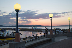 United States, Washington, Kirkland,  sunset behind marina on Lake Washington