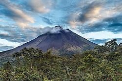Arenal Volcano at sunrise, Arenal Tilaran Conservation Area, Costa Rica.