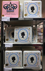 © Licensed to London News Pictures. 28/03/2012. Hammermsith, UK. Tins of souvenir shortbread biscuits on shelves in a Marks and Spencer store celebrating the Jubilee of Queen Elizabeth II.  Photo credit : Stephen SImpson/LNP