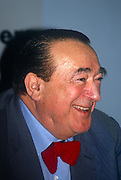 Media tycoon, Robert Maxwell during a press conference months before his suspicious death, on 30th April 1991 in London, England. Ian Robert Maxwell, MC born Ján Ludvík Hyman Binyamin Hoch; 1923-1991 was a British media proprietor and Member of Parliament MP. Originally from Czechoslovakia, he rose from poverty to build an extensive publishing empire. After Maxwells death in November that year, huge discrepancies in his companies finances were revealed, including his fraudulent misappropriation of the Mirror Group pension fund.