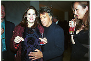 Mrs. Geordie Greig and Dustin Hoffman.  Pre Bafta party jointly hosted by Tina Brown and Elizabeth Murdoch. St. Martin's Lane Hotel. 8 April 2000<br />© Copyright Photograph by Dafydd Jones 66 Stockwell Park Rd. London SW9 0DA Tel 010 7733 0108 www.dafjones.com