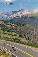 Road bicycling on Trail Ridge Road in Rocky Mountain National Park, Colorado, USA MR