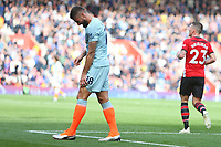 Football - 2018 / 2019 Premier League - Southampton vs. Chelsea<br /> <br /> Olivier Giroud of Chelsea winces in pain as he pulls up with a thigh injury at St Mary's Stadium Southampton<br /> <br /> COLORSPORT/SHAUN BOGGUST