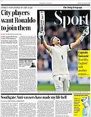 August 27, 2021 - UK: Front-page: Today's Newspapers In United Kingdom