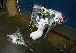 ©under license to London News Pictures. 13/01/2011. Flowers left in Jersey Road Leicestershire today (Sun) A man, a woman and two children who are all thought to be members of the same family have been found dead. The body of the man, 32, was found at Watermead Country Park, Leicestershire, on Friday evening. Police said the bodies of a 24-year-old woman, a three-year-old boy and a girl, aged two, were found at a property in Jersey Road, Leicester, on Saturday afternoon. photo credit should be read as: Michael Zemanek / LNP