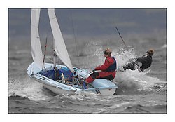 470 Class European Championships Largs - Day 3.Brighter conditions with more wind..IRL83, Diana KISSANE, Saskia TIDEY, Royal Irish Yacht Club..