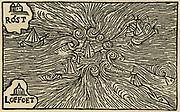 A maelstrom. Woodcut from 'Historia de gentibus septentrionalibus' by Olaus Magnus, 155.