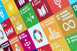 2 December 2019, Madrid, Spain: Wall displaying the various Sustainable Development Goals during day one of COP25 in Madrid.