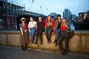 Idle Women: artists; Gabrielle Beveridge,; Catherine Bagg; Rose O' Gallivan; ; Niamh Riordan; Poppy Jones; Lise Hoveson;  ;  Blackriars. London. 10 January 2010 *** Local Caption *** -DO NOT ARCHIVE-© Copyright Photograph by Dafydd Jones. 248 Clapham Rd. London SW9 0PZ. Tel 0207 820 0771. www.dafjones.com.<br /> Idle Women: artists; Gabrielle Beveridge,; Catherine Bagg; Rose O' Gallivan; ; Niamh Riordan; Poppy Jones; Lise Hoveson;  ;  Blackriars. London. 10 January 2010