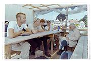 Henley on Thames, England, 1999 Henley Royal Regatta, River Thames, Henley Reach,  [© Peter Spurrier/Intersport Images], DEN LM4- Crew, Bow, Thomas EBERT,   Thomas Poulsen <br /> Eskild EBBESEN,  Stroke Victor FEDDERSEN, <br /> Interviewed by Journalist , Chris DODD,