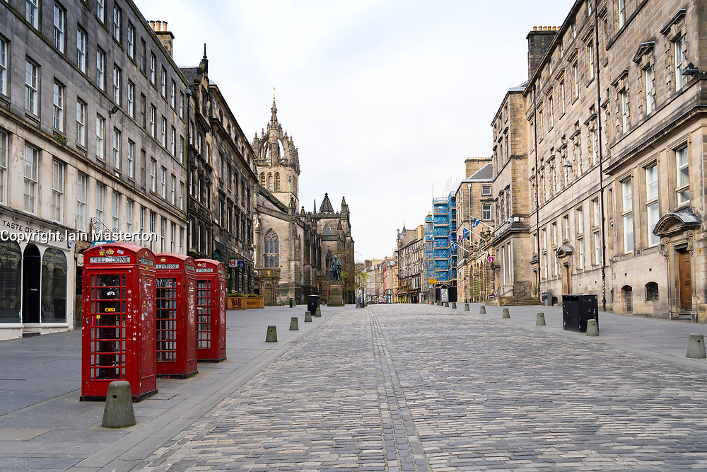 View of empty Royal Mile in Edinburgh Old Town during Covid-19 pandemic lockdown, Scotland, UK