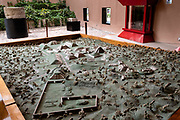 An architectural model in miniature of the pre-Columbian archeological complex of El Tajin on display in the museum in Tajin, Veracruz, Mexico. El Tajín flourished from 600 to 1200 CE and during this time numerous temples, palaces, ballcourts, and pyramids were built by the Totonac people and is one of the largest and most important cities of the Classic era of Mesoamerica.