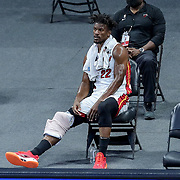 ORLANDO, FL - MARCH 14: Jimmy Butler #22 of the Miami Heat rests with ice on his knee against the Orlando Magic during the first half at Amway Center on March 14, 2021 in Orlando, Florida. NOTE TO USER: User expressly acknowledges and agrees that, by downloading and or using this photograph, User is consenting to the terms and conditions of the Getty Images License Agreement. (Photo by Alex Menendez/Getty Images)*** Local Caption *** Jimmy Butler