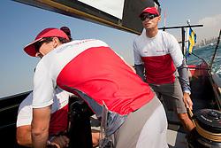 Torbjorn Tornqvist joined the race crew during RR2. Artemis Racing (SWE) vs. Mascalzone Latino Audi Team (ITA). Dubai, United Arab Emirates, November 22nd 2010. Louis Vuitton Trophy  Dubai (12 - 27 November 2010) © Sander van der Borch / Artemis Racing