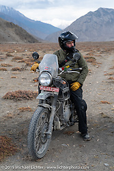 Devil Chicken artist Chris Galley on his Royal Enfield Himalayan on Motorcycle Sherpa's Ride to the Heavens motorcycle adventure in the Himalayas of Nepal. On the fifth day of riding, we went from Muktinath to Tatopani. Friday, November 8, 2019. Photography ©2019 Michael Lichter.