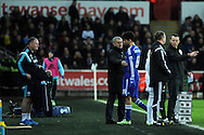 Diego Costa of Chelsea walks past his manager Jose Mourinho after he is replaced late in the 2nd half. Barclays Premier League match, Swansea city v Chelsea at the Liberty Stadium in Swansea, South Wales on Saturday 17th Jan 2015.<br /> pic by Andrew Orchard, Andrew Orchard sports photography.