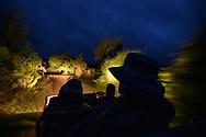Touristen im fahrenden Geländewagen auf Safari während der Abenddämmerung, Greater Kruger Area, Südafrika<br /> <br /> Tourists in moving off-road vehicles on safari during dusk, Greater Kruger Area, South Africa