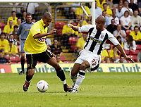 Copyright Sportsbeat Images. 0208 8768611<br />Picture: Henry Browne<br />Date: 23/08/2003<br />Watford v West Bromwich Albion Nationwide First Division<br />James Chambers of West Brom tries to stop Watford's Danny Webber