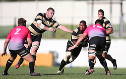 Clemen Lewis of Boland attempts to get past Wiehan Hay of the Pumas during the Currie Cup premier division match between the Boland Cavaliers and The Pumas held at Boland Stadium, Wellington, South Africa on the 2nd September 2016<br /> <br /> Photo by:   Shaun Roy/ Real Time Images