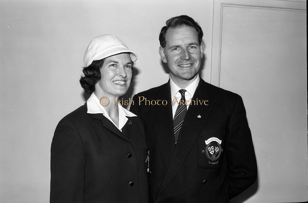 Members of the Irish Olympic team leaves for Amsterdam on the first stage of their journey to Tokyo. Picture shows Maeve Kyle and husband Sean..04.10.1964