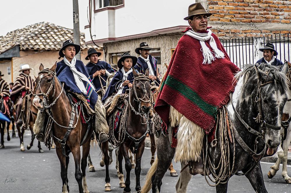 An annual parade of horsemen and women through the streets of Cotacachi, Ecuador.