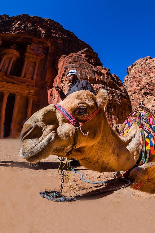 Camel in front of The Treasury (Al-Khazneh), Petra Archaeological Park (a UNESCO World Heritage Site), Petra, Jordan.