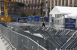 May 18, 2018 - Kiev, Ukraine - A view of installation of fan zone of the UEFA Champions League final in central Kiev, Ukraine, 18 May, 2018. The football UEFA Champions League final match between Real Madrid and Liverpool FC next May 26 at the NSC Olimpiyskiy Stadium. (Credit Image: © Str/NurPhoto via ZUMA Press)