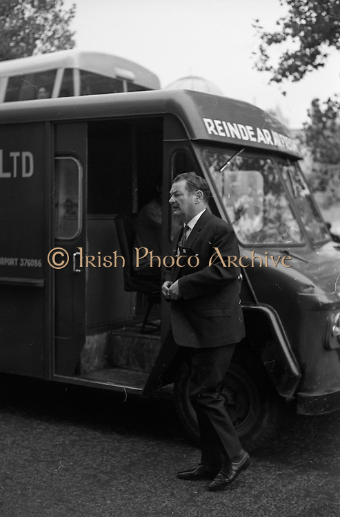 22/9/1970<br /> 9/22/1970<br /> 22 September 1970<br /> <br /> Mr M. O'Moraniny Former Minister for Justice outside the Four Courts before the Arms Trial in Dublin