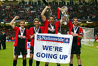 (THE 4 GOALSCORERS) GARETH O'CONNOR (LEFT) STEPHEN PURCHES/GARETH O'CONNOR (CENTRE) AND CARL FLETCHER (CAPT) BOURNEMOUTH TEAM CELEBRATE WITH THE CUP<br />BOURNEMOUTH V LINCOLN CITY 24/05/03 (5-2) DIVISION 3 PLAYOFF PHOTO ROBIN PARKER, DIGITALSPORT