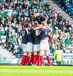 Falkirk team celebrates after scoring their first goal..Hibernian 4 v 3 Falkirk, William Hill Scottish Cup Semi Final, Hampden Park...