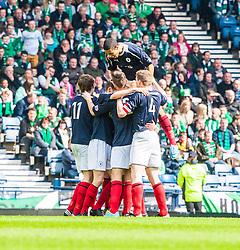 Falkirk team celebrates after scoring their first goal..Hibernian 4 v 3 Falkirk, William Hill Scottish Cup Semi Final, Hampden Park...