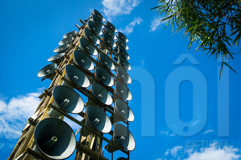 Tower of speakers alongside the Ben Hai River near Hien Luong Bridge, DMZ, Quang Tri Province, Vietnam, Southeast Asia
