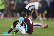 Cheikhou Kouyate of West Ham United dejected  after the final whistle. UEFA Europa league, 1st play off round match, 2nd leg, West Ham Utd v Astra Giurgiu at the London Stadium, Queen Elizabeth Olympic Park in London on Thursday 25th August 2016.<br /> pic by John Patrick Fletcher, Andrew Orchard sports photography.
